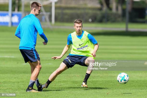 Julius Kade and Mitchell Weiser of Hertha BSC during the training on July 18 2017 in Berlin Germany