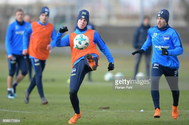 Julius Kade and Mitchell Weiser of Hertha BSC during training at Schenkendorfplatz on march 27 2018 in Berlin Germany