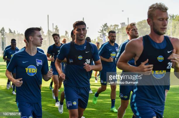 Julius Kade Muhammed Kiprit and Arne Maier of Hertha BSC during the training at the Schenkendorfplatz on july 30 2018 in Berlin Germany