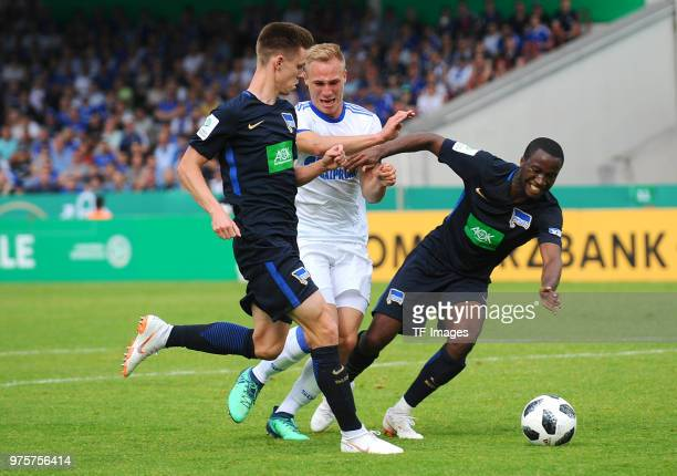 Julius Kade of Hertha Florian Krueger of Schalke and Pans de Angelo Ernesto of Hertha battle for the ball during the German A Juniors Championship...