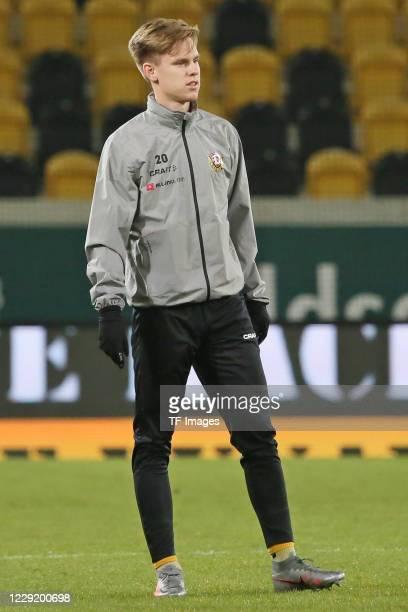 Julius Kade of SG Dynamo Dresden looks on during the 3 Liga match between Dynamo Dresden and FSV Zwickau at RudolfHarbigStadion on October 20 2020 in...