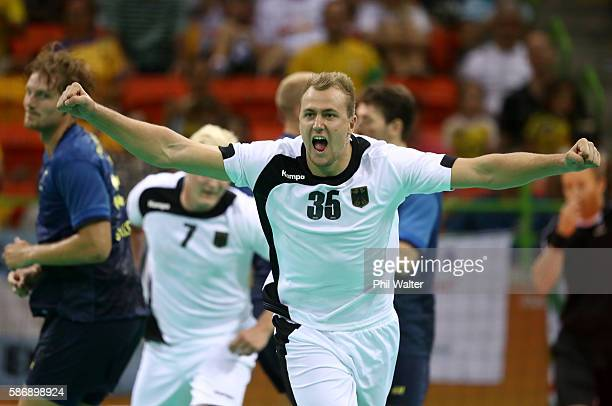 Julius Kuehn of Germany celebrates a goal during the Men's Preliminary Group B match between Sweden and Germany at on Day 2 of the Rio 2016 Olympic...