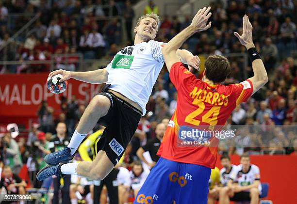 Julius Kuhn of Germany in action during the Gold Medal match the final of the Men's EHF European Handball Championship 2016 between Spain and Germany...