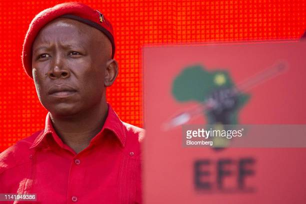 Julius Malema, leader of the Economic Freedom Fighters , looks on during an Economic Freedom Fighters party campaign rally in Soweto, Johannesburg,...