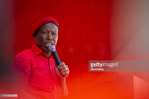 Julius Malema, leader of the Economic Freedom Fighters , speaks at a party rally in Soweto, Johannesburg, South Africa, on Sunday, May 5, 2019. With...