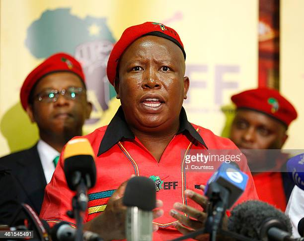 Julius Malema, President of the Economic Freedom Fighters along with other members of the Economic Freedom Fighters party hold a press conference to...