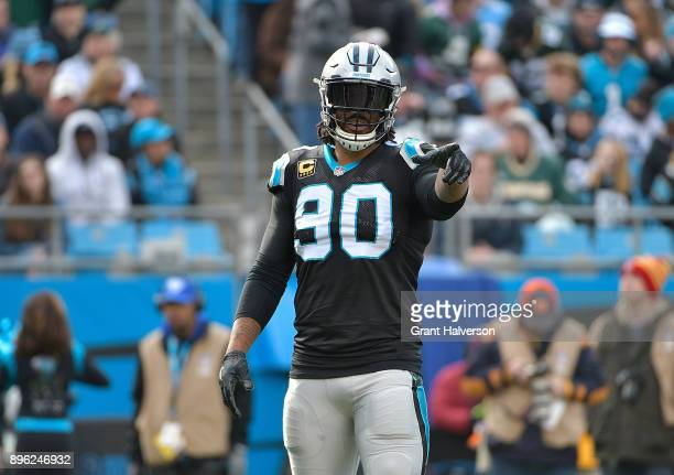 Julius Peppers of the Carolina Panthers during their game against the Green Bay Packers at Bank of America Stadium on December 17 2017 in Charlotte...