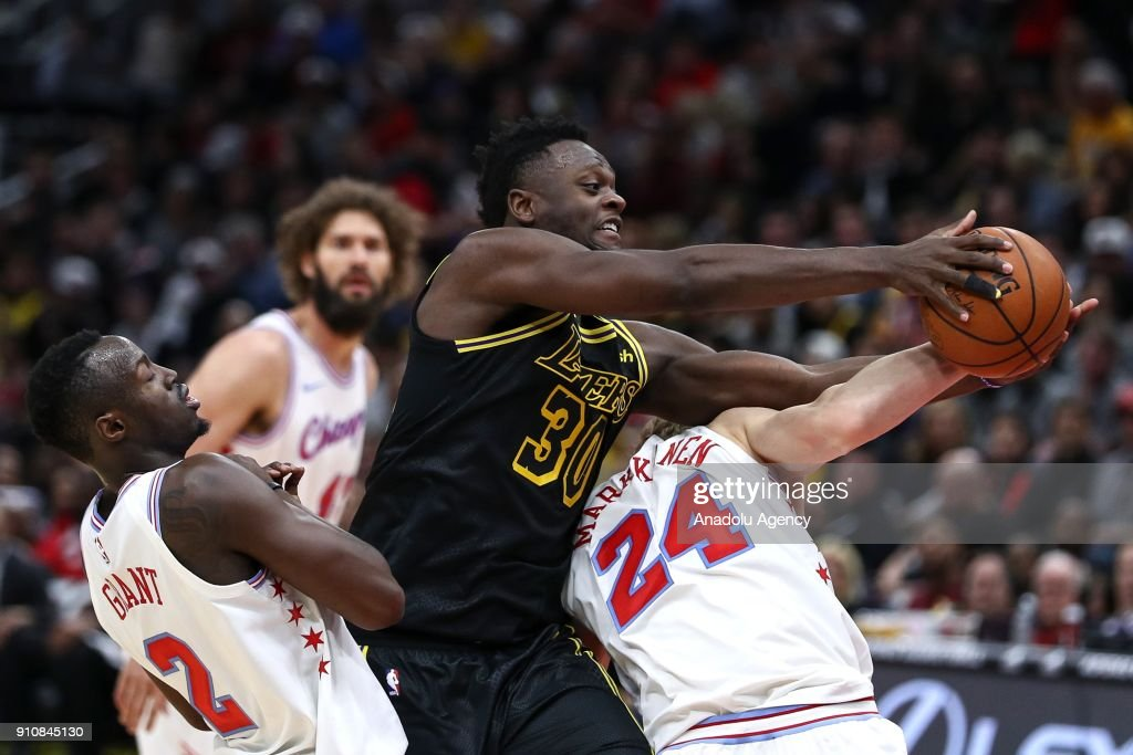 Julius Randle (30) of Los Angeles Lakers in action during an NBA game between Chicago Bulls and Los Angeles Lakers at United Center on January 26, 2018 in Chicago, United States.
