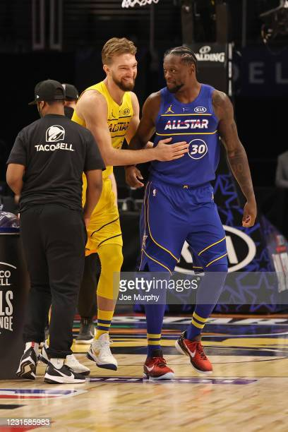 Julius Randle of Team Durant and Domantas Sabonis of Team LeBron smile and laugh during the Taco Bell Skills Challenge as part of 2021 NBA All Star...