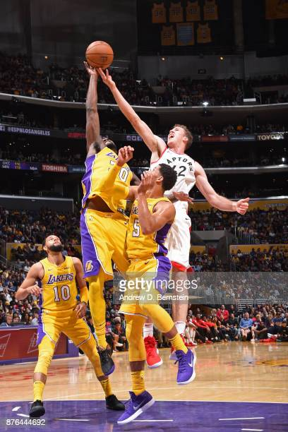 Julius Randle of the Los Angeles Lakers blocks shot against the Toronto Raptors on October 27 2017 at STAPLES Center in Los Angeles California NOTE...