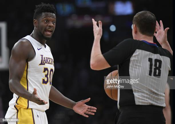 Julius Randle of the Los Angeles Lakers complains to referee Matt Boland after being called for a foul in the first half at Staples Center on April 8...