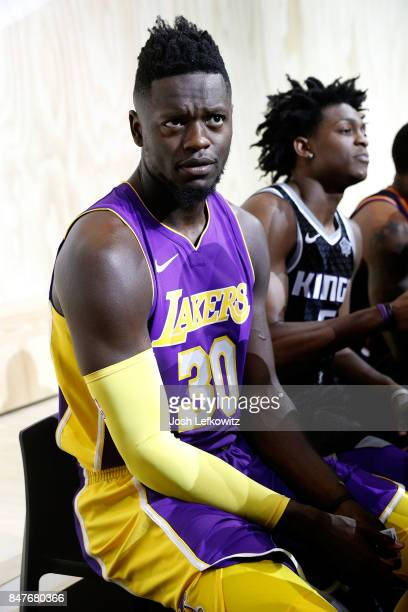 Julius Randle of the Los Angeles Lakers debuts the new jersey during the unveiling of the New NBA Partnership with Nike on September 15 2017 in Los...