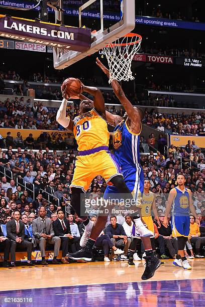 Julius Randle of the Los Angeles Lakers drives to the basket against the Golden State Warriors on November 4 2016 at STAPLES Center in Los Angeles...