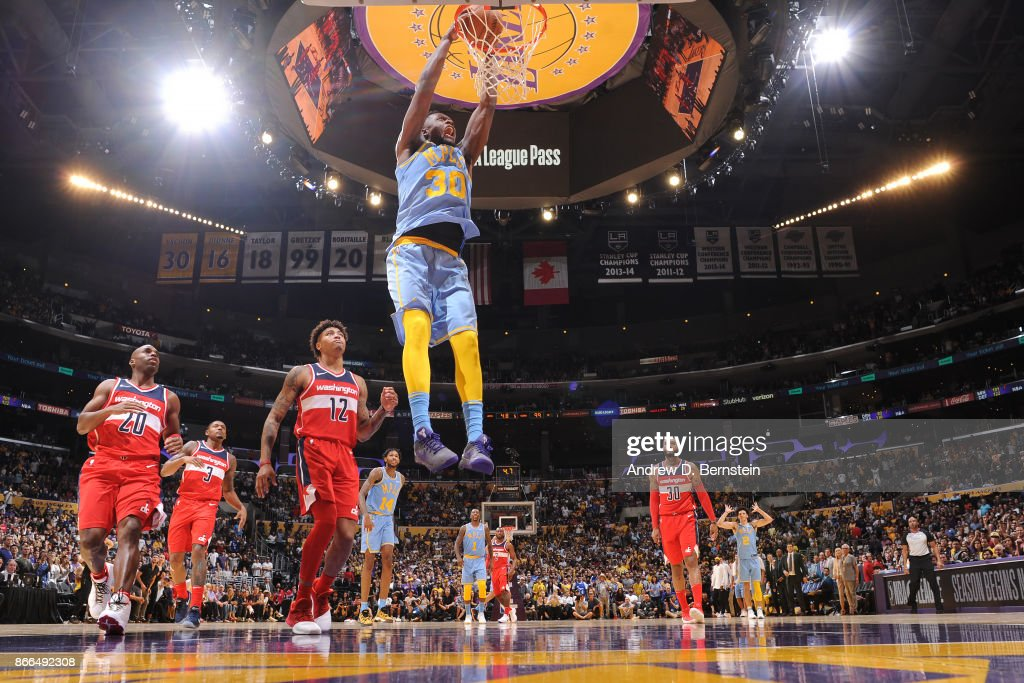 Julius Randle #30 of the Los Angeles Lakers dunks the ball against the Washington Wizards on October 25, 2017 at STAPLES Center in Los Angeles, California.