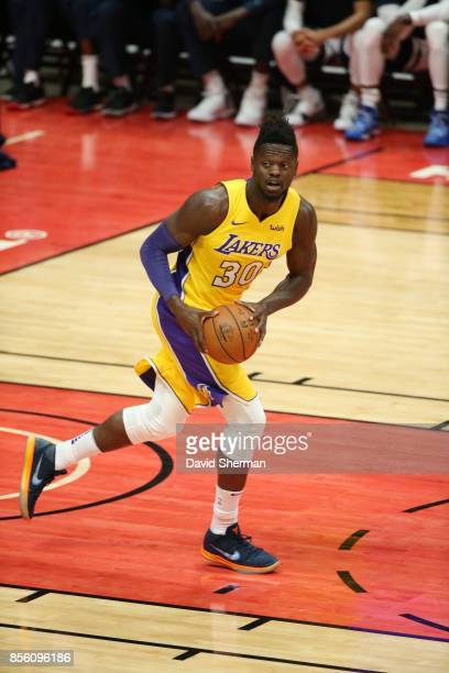 Julius Randle of the Los Angeles Lakers handles the ball against the Minnesota Timberwolves during a preseason game on September 30 2017 at Honda...