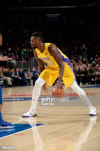 Kyle Kuzma of the Los Angeles Lakers handles the ball during the game against the Philadelphia 76ers on December 7 2017 at Wells Fargo Center in...