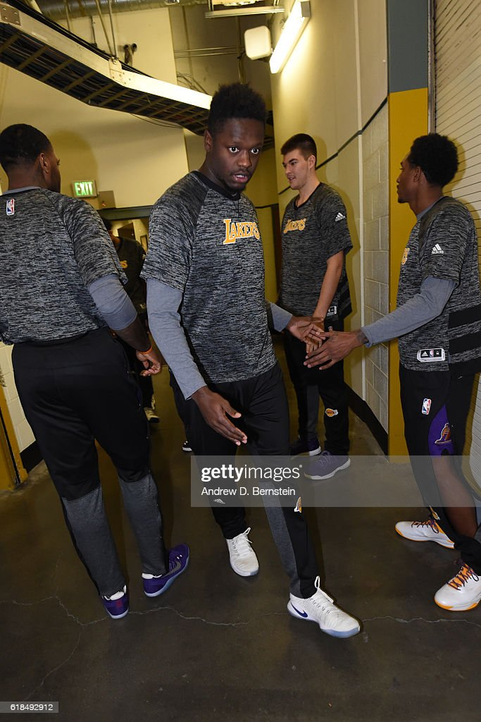Julius Randle #30 of the Los Angeles Lakers is seen before a preseason game against the Phoenix Suns on October 21, 2016 at Honda Center in Anaheim, California.