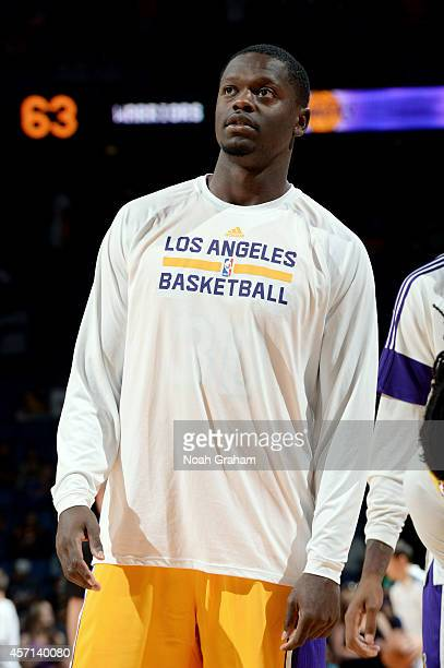Julius Randle of the Los Angeles Lakers looks on during the game against the Golden State Warriors on October 12 2014 at Citizens Business Bank Arena...
