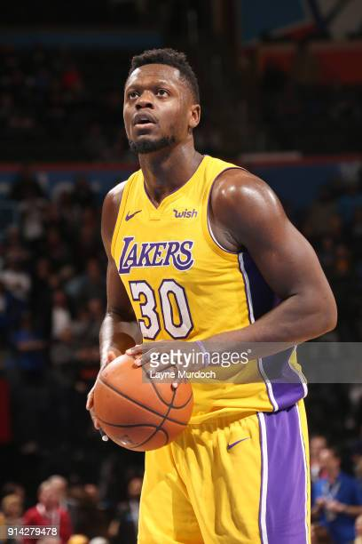 Julius Randle of the Los Angeles Lakers shoots a free throw during the game against the Oklahoma City Thunder on February 4 2018 at Chesapeake Energy...