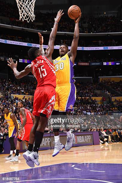 Julius Randle of the Los Angeles Lakers shoots the ball against the Houston Rockets on October 26 2016 at STAPLES Center in Los Angeles California...
