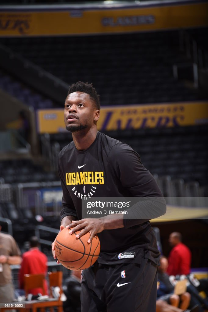 Julius Randle #30 of the Los Angeles Lakers warms up prior to the game against the Denver Nuggets on March 13, 2018 at STAPLES Center in Los Angeles, California.