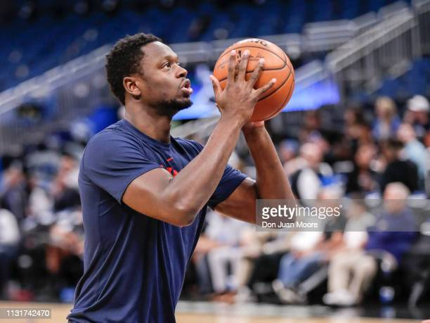 Julius Randle of the New Orlean Pelicans warms up before the game against the Orlando Magic at the Amway Center on March 20 2019 in Orlando Florida...