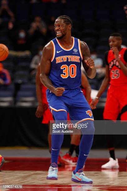 Julius Randle of the New York Knicks celebrates during the game against the Toronto Raptors on December 31, 2020 at the Amalie Arena in Tampa Bay,...