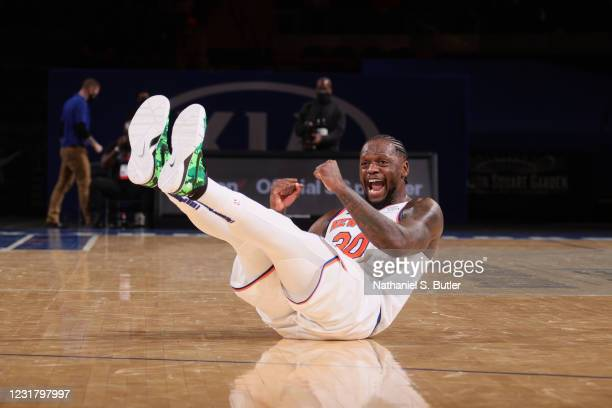 Julius Randle of the New York Knicks celebrates during the game against the Orlando Magic on March 18, 2021 at Madison Square Garden in New York...