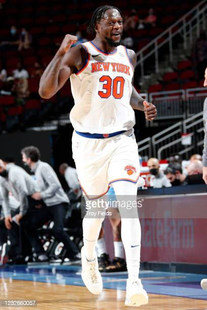 Julius Randle of the New York Knicks celebrates during the game against the Houston Rockets on May 2, 2021 at the Toyota Center in Houston, Texas....