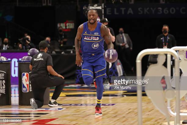 Julius Randle of the New York Knicks dribble the ball during the Taco Bell Skills Challenge as part of 2021 NBA All Star Weekend on March 7, 2021 at...