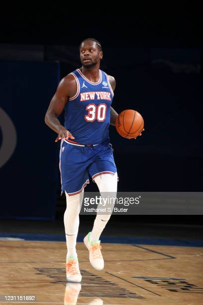 Julius Randle of the New York Knicks dribbles during the game against the Houston Rockets on February 13, 2021 at Madison Square Garden in New York...