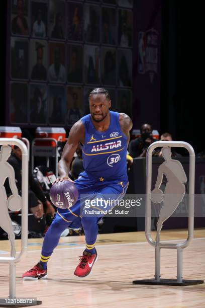 Julius Randle of the New York Knicks dribbles during the Taco Bell Skills Challenge as part of 2021 NBA All Star Weekend on March 7, 2021 at State...