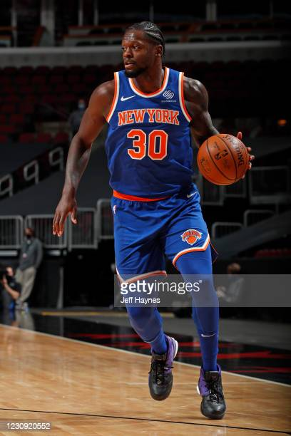 Julius Randle of the New York Knicks dribbles the ball against the Chicago Bulls on February 1, 2021 at United Center in Chicago, Illinois. NOTE TO...