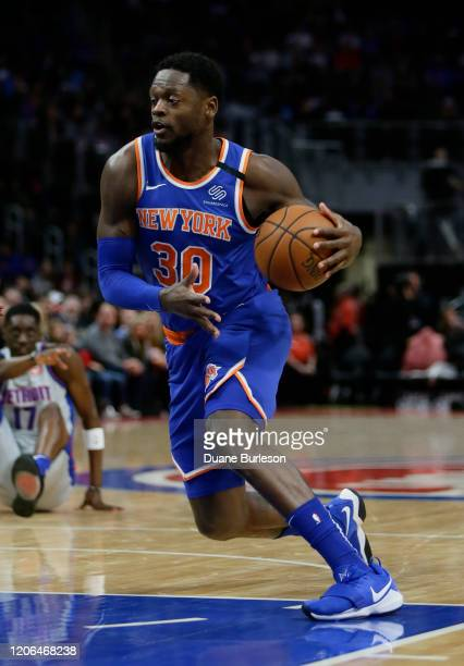 Julius Randle of the New York Knicks during the first half of a game against the Detroit Pistons at Little Caesars Arena on February 8 in Detroit...