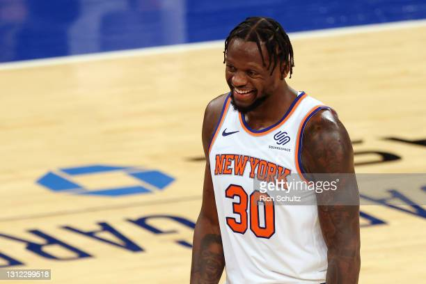 Julius Randle of the New York Knicks in action against the Toronto Raptors during a game at Madison Square Garden on April 11, 2021 in New York City....