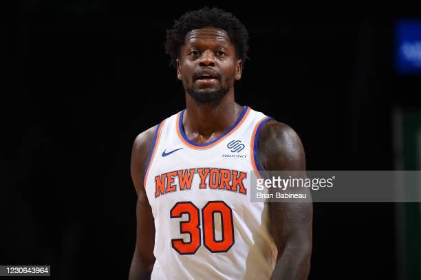 Julius Randle of the New York Knicks looks on during the game against the Boston Celtics on January 17, 2021 at the TD Garden in Boston,...
