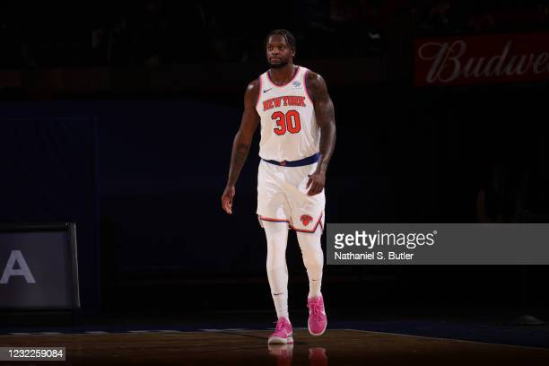 Julius Randle of the New York Knicks looks on during the game against the Toronto Raptors on April 11, 2021 at Madison Square Garden in New York...