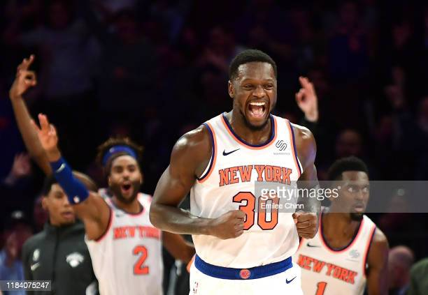 Julius Randle of the New York Knicks reacts during the second half against the Chicago Bulls at Madison Square Garden on October 28, 2019 in New York...