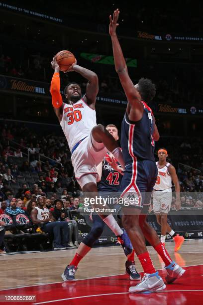 Julius Randle of the New York Knicks shoots the ball against the Washington Wizards on March 10 2020 at Capital One Arena in Washington DC NOTE TO...