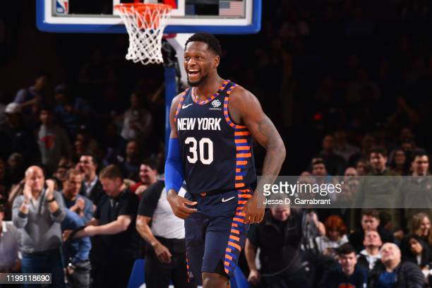 Julius Randle of the New York Knicks smiles during a game against the Orlando Magic on February 6, 2020 at Madison Square Garden in New York City,...