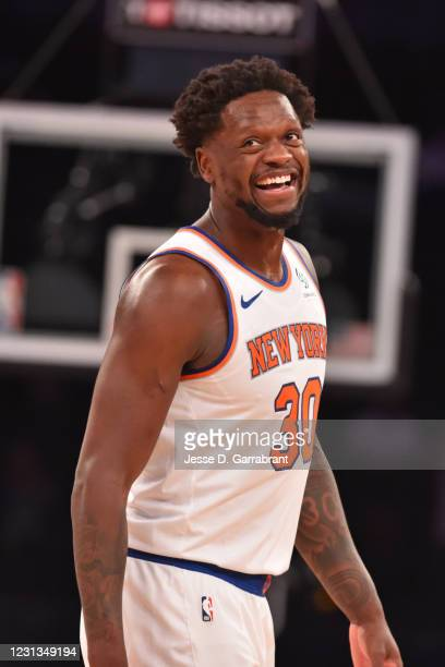 Julius Randle of the New York Knicks smiles during a game against the Golden State Warriors on February 23, 2021 at Madison Square Garden in New York...