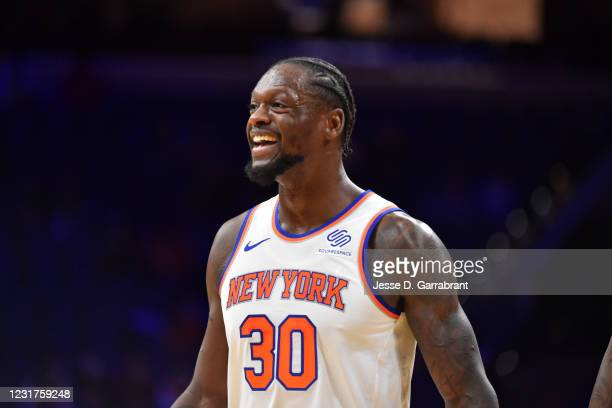 Julius Randle of the New York Knicks smiles during a game against the Philadelphia 76ers on March 16, 2021 at Wells Fargo Center in Philadelphia,...