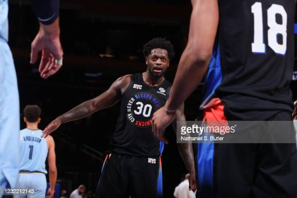 Julius Randle of the New York Knicks smiles during the game against the Memphis Grizzlies on April 9, 2021 at Madison Square Garden in New York City,...