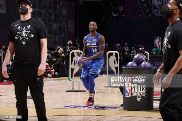Julius Randle of the New York Knicks smiles during the Taco Bell Skills Challenge as part of 2021 NBA All Star Weekend on March 7, 2021 at State Farm...