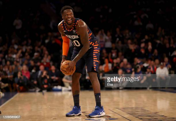 Julius Randle of the New York Knicks smiles in the final minute of the game against the Chicago Bulls at Madison Square Garden on February 29, 2020...