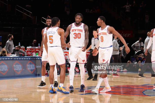 Julius Randle of the New York Knicks talks to teammates during the game against the Atlanta Hawks on April 21, 2021 at Madison Square Garden in New...