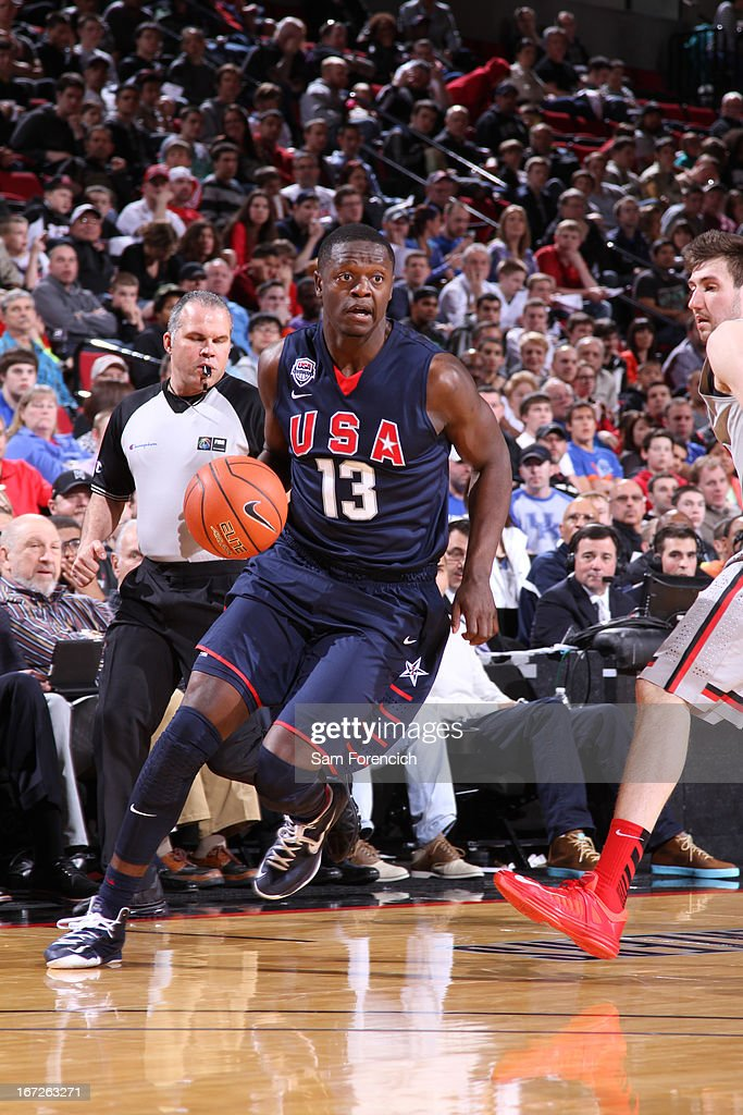 Julius Randle #13 of the USA Junior Select Team drives against the World Select Team during the 2013 Nike Hoop Summit game on April 20, 2013 at the Rose Garden Arena in Portland, Oregon.
