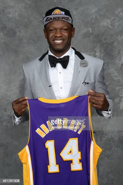 Julius Randle the seventh pick overall in the NBA Draft by the Los Angeles Lakers poses for a portrait during the 2014 NBA Draft at the Barclays...