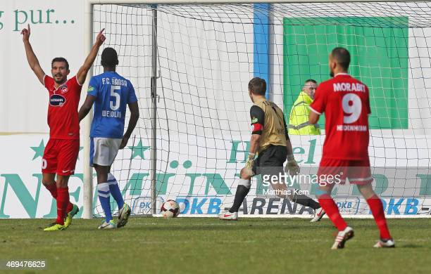 Julius Reinhardt scores the first goal during the third league match between FC Hansa Rostock and 1.FC Heidenheim at DKB Arena on February 15, 2014...
