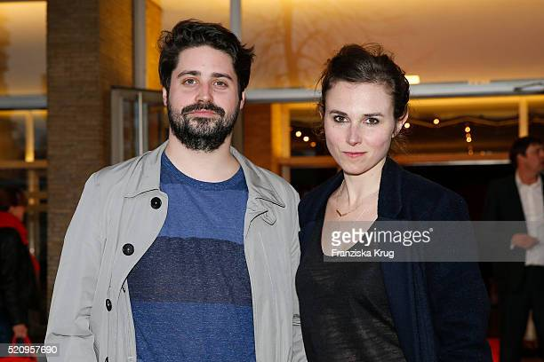 Julius Schultheiss and Karin Hanczewski attend the 'Mann im Spagat Pace Cowboy Pace' premiere at Kino International on April 13 2016 in Berlin Germany